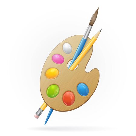 Wooden artist palette, yellow pensil and blue paintbrush. Vector illustration