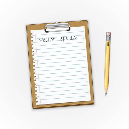 Detailed  brown clipboard with paper and pensil. Vector illustration