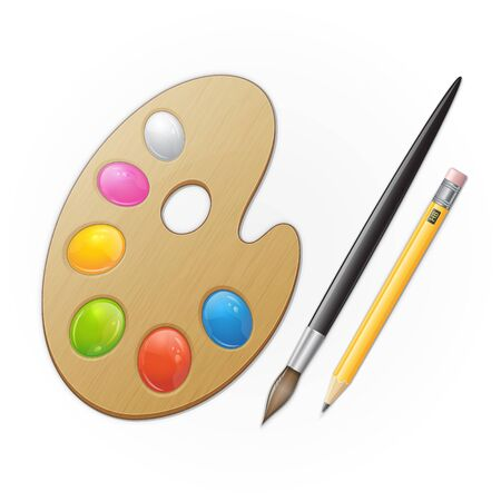 Wooden artist palette, yellow pensil and black paintbrush. Vector illustration Illustration