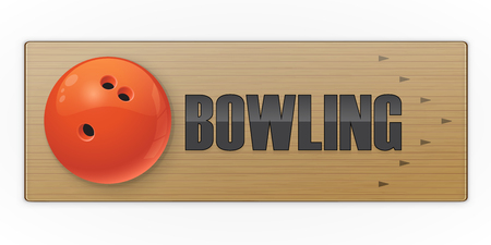 Black ball on the alley for bowling game. Vector illustration