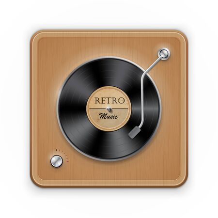 tracklist: Detailed icon of the retro vinil record player with wooden case.