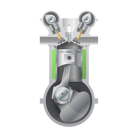 fuel rod: Basic internal combustion engine. Vector illustration Illustration