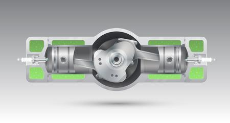 Internal combustion engine of an opposite design. Vector illustration