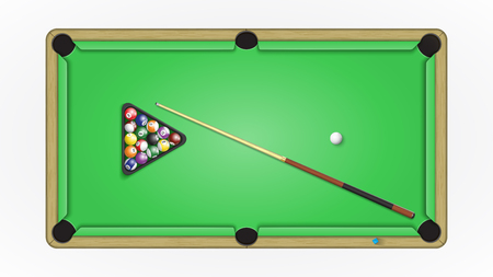 Accessories to a game in pool billiards. Vector illustration