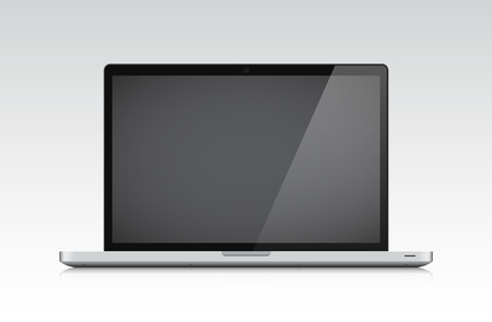 Detailed laptop on a grey background. Vector illustration