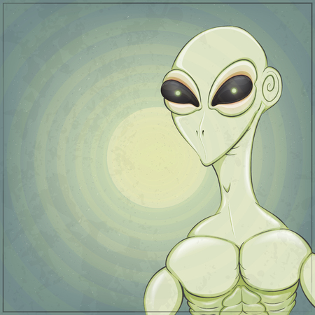 Alien on a moon background. Vector illustration with a plase for the text