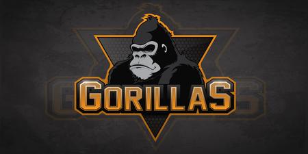 Modern professional gorilla logo for a sport team. Vector logo on a dark background.