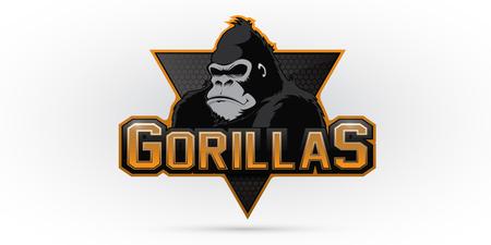 Moderno logo gorilla professionale per un team sportivo. Vector logo su uno sfondo bianco.