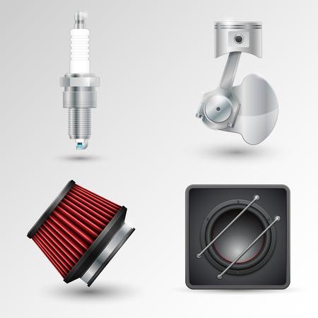 Spark plug, crank mechanism, filter and car subwoofer. Vector illustration