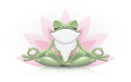 Funny frog doing yoga. Vector illustration