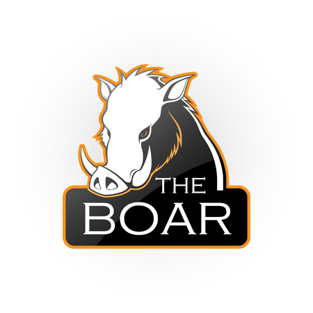 Boar on a white background. Vector boar with room for text.