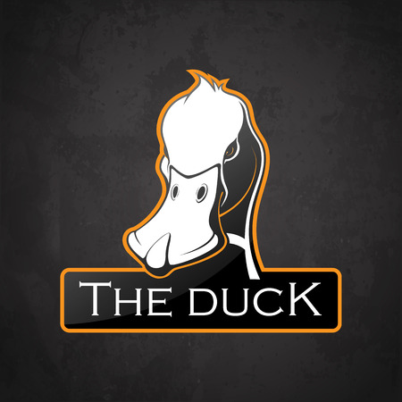 Duck on a dark background. Vector duck with room for text.