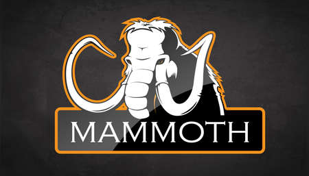 Mammoth on a black background. Vector illustration Stock Illustratie