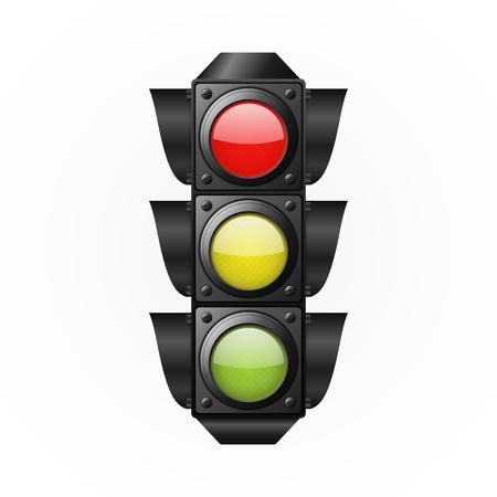 Traffic light on a white background. Vector illustration
