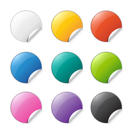 Set of colored stickers with place for text. Vector  illustration