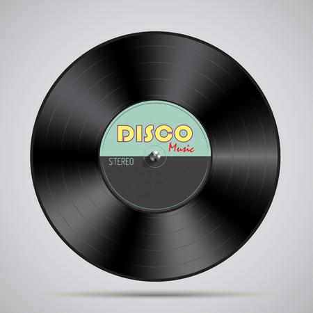 Black vinyl record. Vector illustration flat design