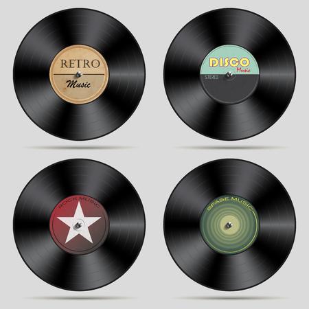 Set of vinyl records.Vector illustration Illustration