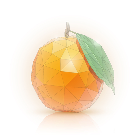 Image of an orange in the style of low poly vector illustration.