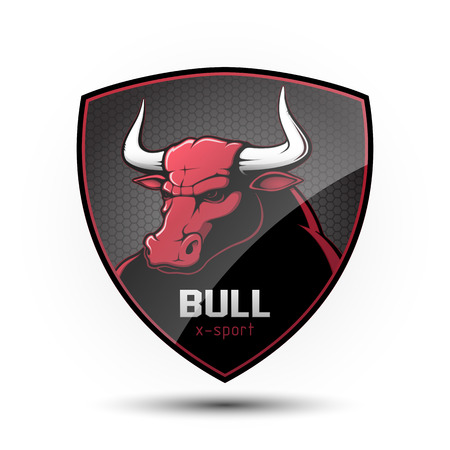Shield with a bull's head on a white background. Vector illustration. Illustration