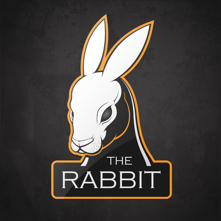 Rabbit on a dark background. Vector illustration of a rabbit with room for text.