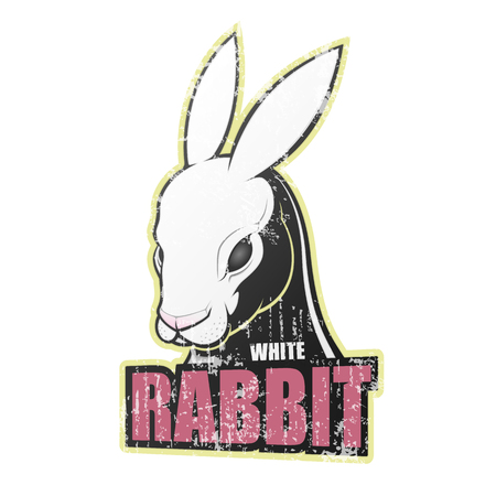 Grunge poster with white rabbit. Vector illustration