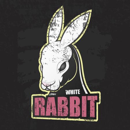 Dark grunge poster with white rabbit. Vector illustration Illustration