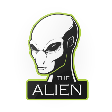 Head of alien on a white background. Vector illustration  with room for text. Illustration