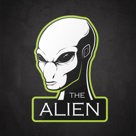 Head of alien on a darck background. Vector illustration  with room for text.