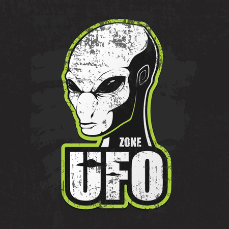 Head of the alien and the zone of UFO. Vector illustration in grunge style Illustration
