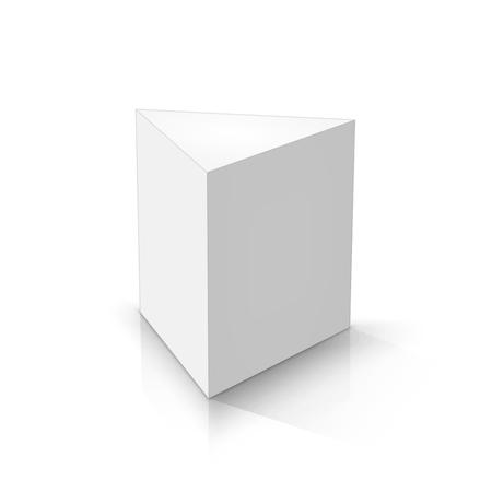 White triangular prism. Vector illustrations