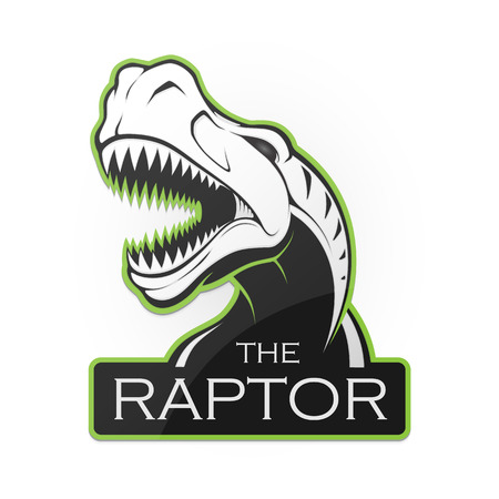 �ead of dinosaur on a white background.