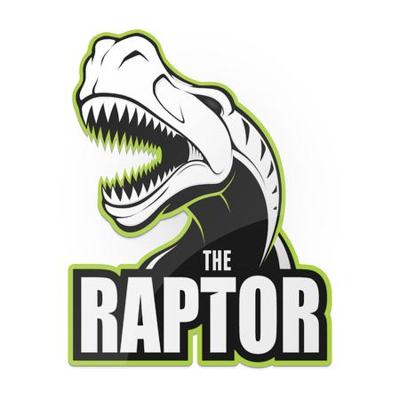 Black and white dinosaur emblem on a white background.
