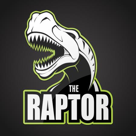 Black and white dinosaur emblem on a dark background. Illustration