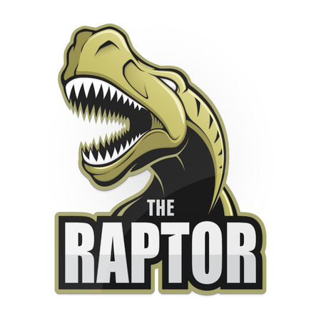 Cartoon emblem of dinosaur on a white background. Illustration