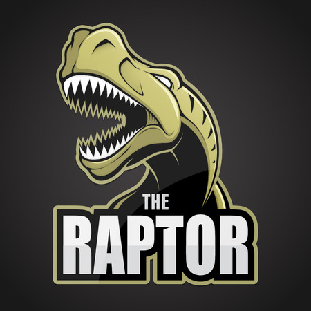 Cartoon emblem of dinosaur on a dark background.