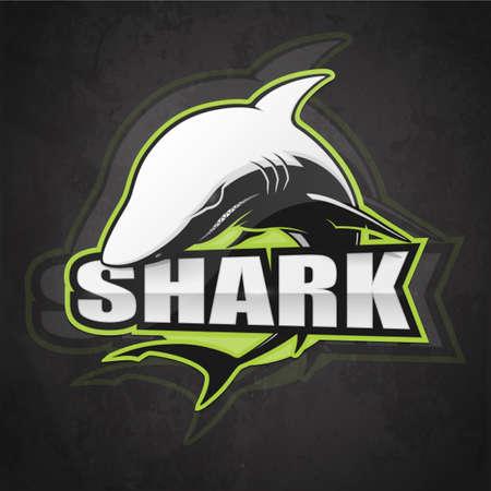 Shark emblem on a dark background. Vector illustration Illustration