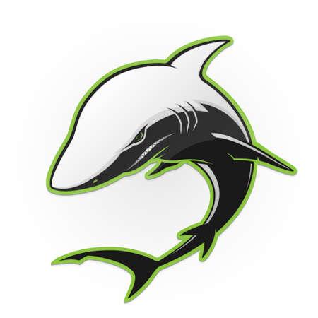 Black and white shark on a white background. Vector illustration Illustration