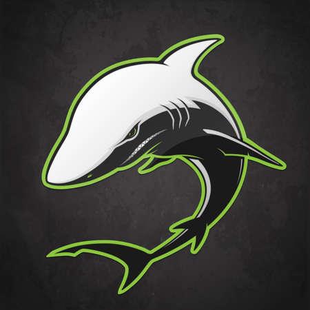 Black and white shark on a dark background. Vector illustration