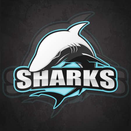 Shark for a sport team on a dark background. Vector illustration Illustration