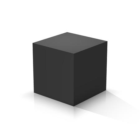 Cubo negro. Ilustración vectorial