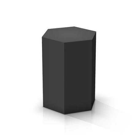 Black hexagonal prism. Vector illustration