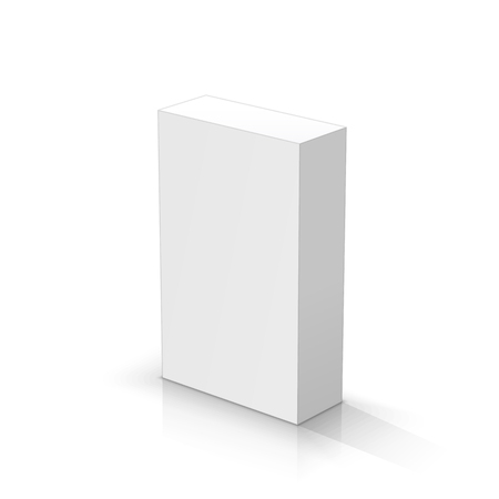 White rectangular parallelepiped. Vector illustrations Çizim