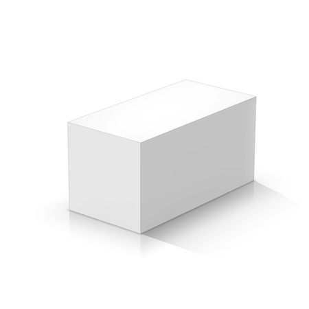 White rectangular prism. Vector illustration