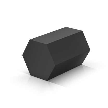 Black hexagonal prism. Vector illustration Çizim