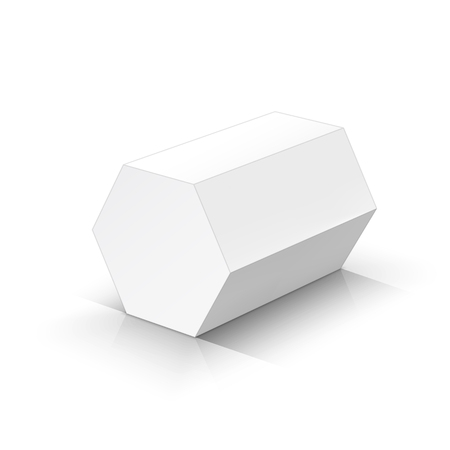 White hexagonal prism. Vector illustration Çizim