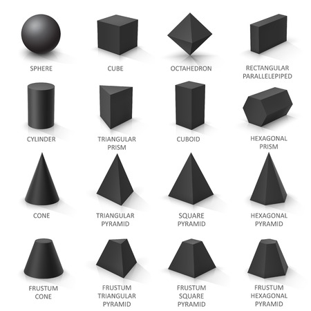Set of basic 3d shapes. Black geometric solids on a white background. Vector illustration Çizim