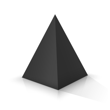 Black square pyramid on a white background. Vector illustration