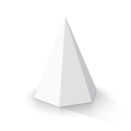 White hexagonal pyramid on a white background. Vector illustration