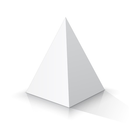White square pyramid on a white background. Vector illustration Çizim