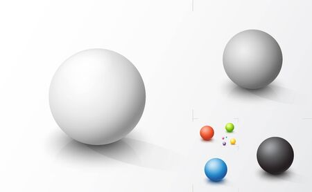Set of colored 3d spheres.  Futuristic vector illustration Çizim
